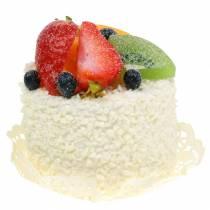 Decoratief taartje met fruit aardbeien dummy voedsel 7cm