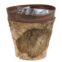 Pot met berk en metaal Ø17.5cm H16.5cm 1p