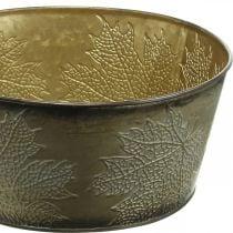 Herfstschaal, metalen pot met bladdecoratie, gouden plantenpot Ø25cm H10cm
