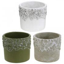 Keramiek vat, bloempot met eiken decor, plantenpot groen/wit/grijs Ø13cm H11.5cm set van 3