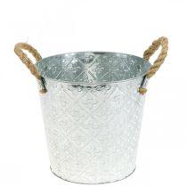 Decoratieve metalen pot, plantenpot met bloemmotief, metalen pot voor opplant Ø20,5cm