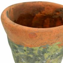 Plantpot plantenbak vintage natuurlijke klei Ø14.5cm H12cm 2st