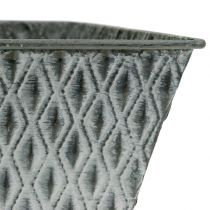 Zinkpot met diamantpatroon H11.5cm