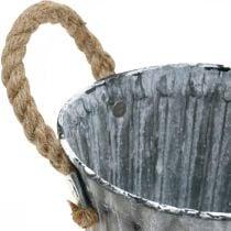 Bloempot met handvatten, metalen bak, plantenbak in antiek-look Ø12cm