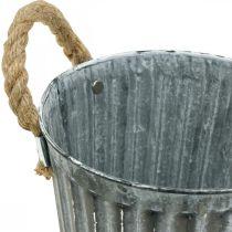 Metalen pot voor opplant, plantenbak, plantenbak met handvatten Ø18cm