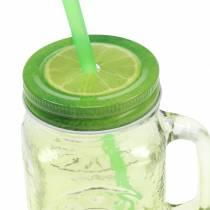 Drinkglas met deksel en rietje assorti Ø7cm H13.5cm 2st