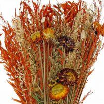 Droogbloemen boeket oranje mix 42cm