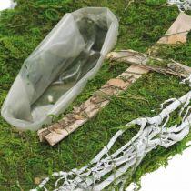Planter drop moss, wijnstok herdenkingsbloemwerk 40x20cm