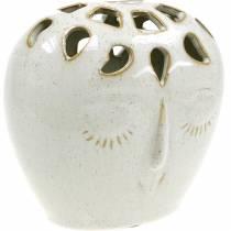 Keramische vaas met gezichtscrème, beige H13cm steengoed look 1st