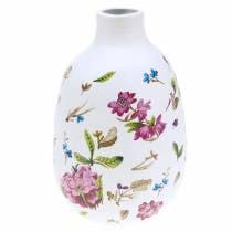 Decoratieve vaas witte bloemen Ø11cm H17.5cm