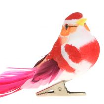 Vogel op clip roze, roze 15cm 12st