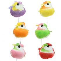 Vogels op de draad kleurrijk 8cm 12st
