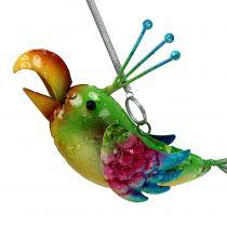 Vogel om groen, roze, blauw 19,5cm op te hangen