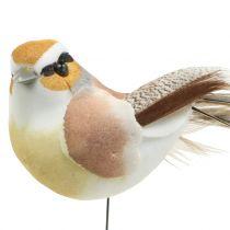 Vogels op draad natuur 9cm 12st