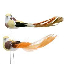 Vogel op draad bruin / oranje 14cm 12st