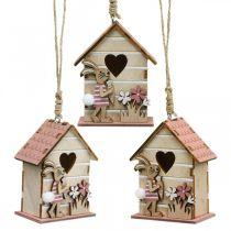 Vogelhuisje om op te hangen, lente, decoratief vogelhuisje met konijn, paasdecoratie 4st