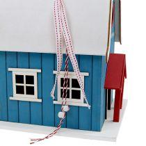 Vogelhuis, decoratief huis blauw 21cm x 30cm