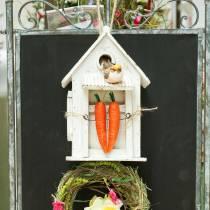 Vogelhuisje om op te hangen wit H25.5cm