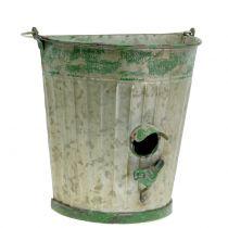Decoratief vogelhuisje om op te hangen antiek groen H26cm