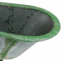 Decoratief kuipje metaal gebruikt zilver, groen 44.5cm x18.5cm x 15.3cm