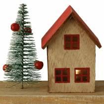 Kerstdorp met LED-verlichting naturel, rood hout 40 × 10,5 × 7 cm