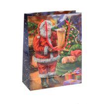 Papieren draagtas Kerstman 11cm x 13.5cm