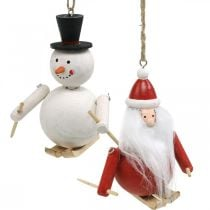 Kerstboomversiering hout Kerstman en sneeuwpop 11cm 2st