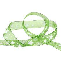 Kerstlint groen met sterpatroon 25mm 20m