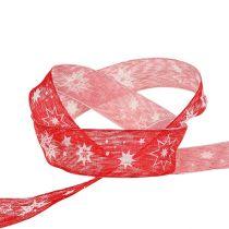 Kerstlint rood met sterpatroon 25mm 20m