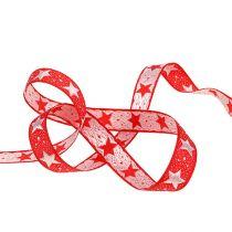 Kerstlint met sterren rood 15mm 20m