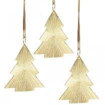 Kerstboom metaal goud 8x10cm om op te hangen 3st.