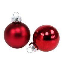 Kerstbal Ø4cm rood glans / mat 24st
