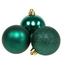 Kerstbal smaragdgroen mix Ø6cm 10st