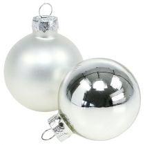 Kerstbal glas Ø6cm zilver mix 24st