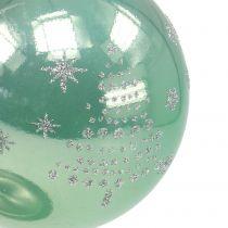 Kerstbal met glitter eucalyptus Ø8cm 6st