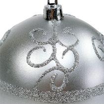 Kerstbal zilver Ø8cm kunststof 1stuk