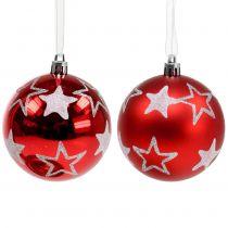 Kerstballen met sterren in rood 2st Ø8cm