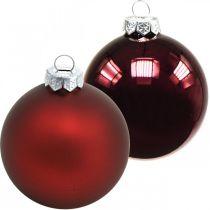 Kerstballen, kerstboomversieringen, glazen bollen wijnrood H8.5cm Ø7.5cm echt glas 12st
