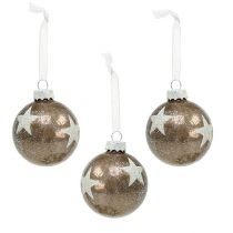 Kerstbal glas met sterpatroon lichtbruin Ø6cm 6st