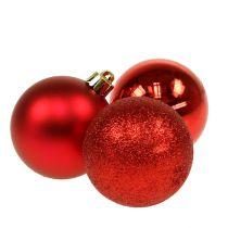 Kerstbal kunststof rood 6cm 10st