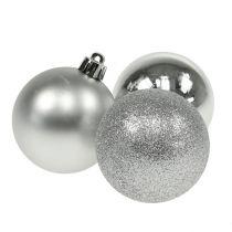 Kerstbal kunststof zilver 6cm 10st