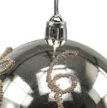 Kerstbal kunststof licht goud Ø8cm 2st