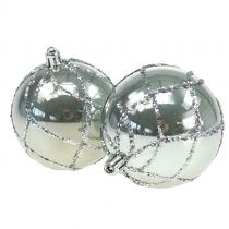 Kerstbal kunststof zilver Ø8cm 2st