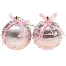Kerstbal roze met strik Ø8cm 2st