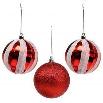 Kerstboomballen van kunststof rood, wit Ø8cm 3st
