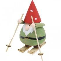 Kabouter op ski decoratie figuur hout Kerst Kabouter figuur H13cm