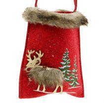 Kersttas rood met bont 15,5 cm x 18 cm 3 stks