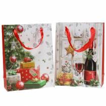 Kerstcadeautas 8 x 18 cm H24cm set van 2