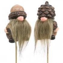 Gnome keramische kegels en eikels decoratieve plug 8 / 8.5cm 4st