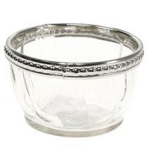 Theelicht glas antiek met metalen rand Ø7cm H4cm